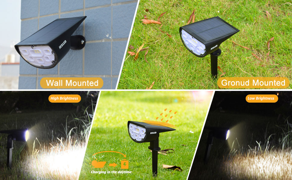 Solar Landscape Spotlight Outdoor Lighting Bright White Dusk to Dawn for Path Driveway Porch