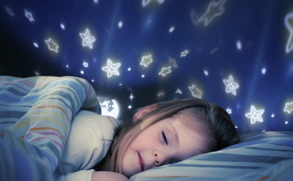 TOFOCO Sternenhimmel Projektor Nachtlicht für Kinder & Baby, Drehend SternenGalaxyKarussellOzean 4 Thema Schlafzimmer Decken Projektion Lampe