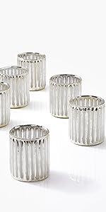 "3"" Silver Corrugated Glass Votive Holder, Set of 6 Reception Wedding Party Event Bulk Spa Table"