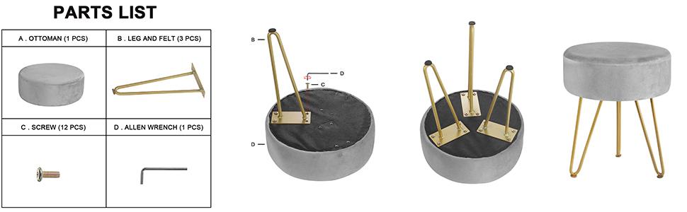 gray ottoman foot stool 3 metal leg