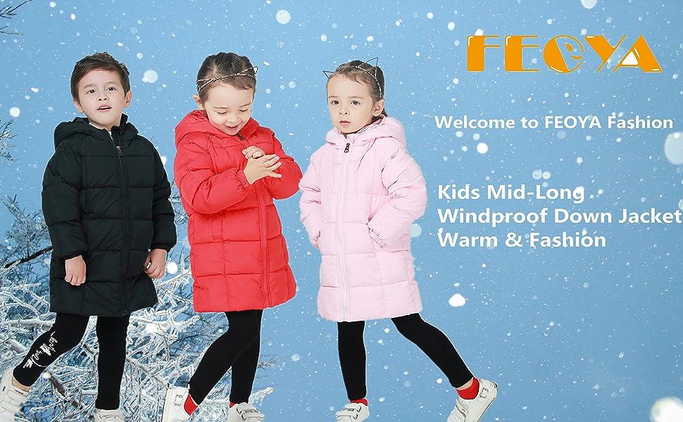 FEOYA Kids Hooded Down Jackets Solid Windproof Puffer Winter Coat Outwear