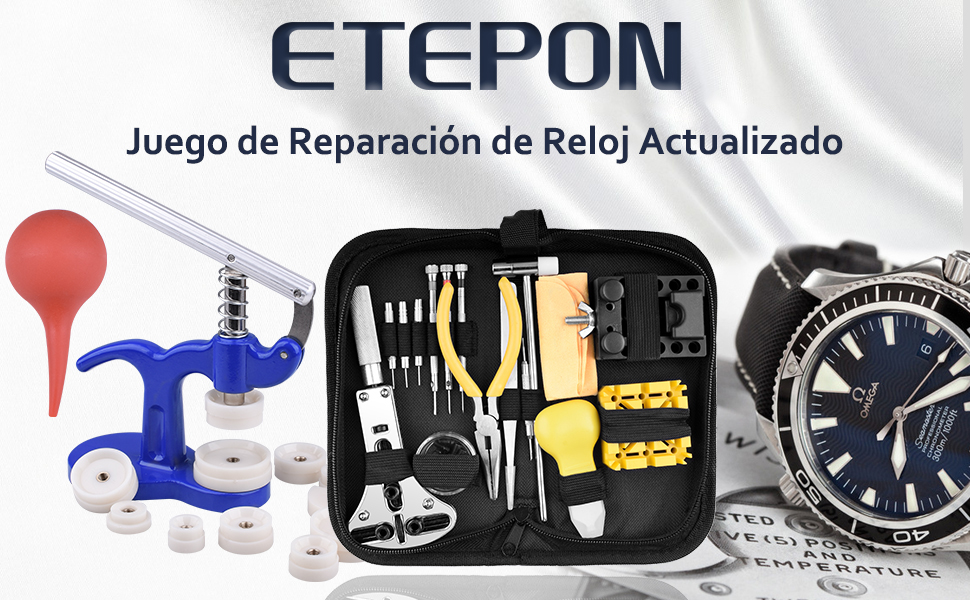ETEPON Kit Reparacion Relojes en un Maletin Nueva Versión ET017: Amazon.es: Bricolaje y herramientas