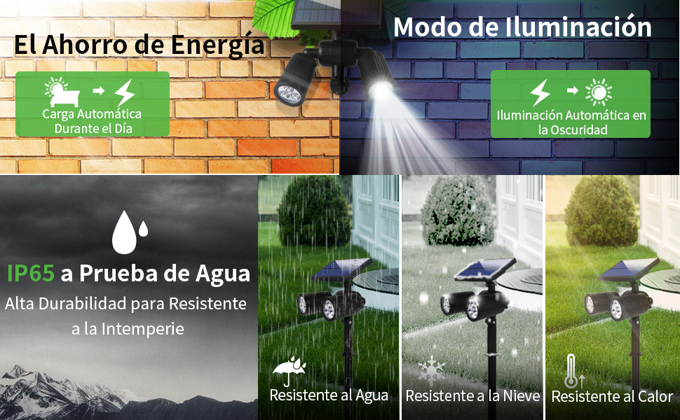 Lámparas Solares 2 en 1 Luces Exterior Inalámbricas 6LED Apliques de Pared con 350 Lúmenes+Impermeable IP65+Sensor de Movimiento Focos Solar+6 lugares Ajustable(0-180°/0-350°) para Jardín Patio Camino: Amazon.es: Iluminación