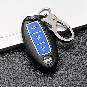 Ontto 3 Taste Autoschlüssel Hülle Cover Für Nissan 370z Qashqai Juke Micra X Trail Altima Note Murano Schlüsselhülle Schlüsselanhänger Abs Plastik Schlüssel Etui Tasche Fernbedienung Schwarz C Auto