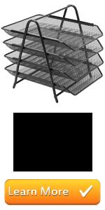 black metal mesh tiered stacking file folder document trays desktop paper organizer holder