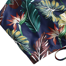 ZAFUL Leaf Print Crisscross Ruched Tankini Swimsuit