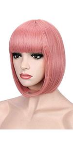 Short pink bob wigs
