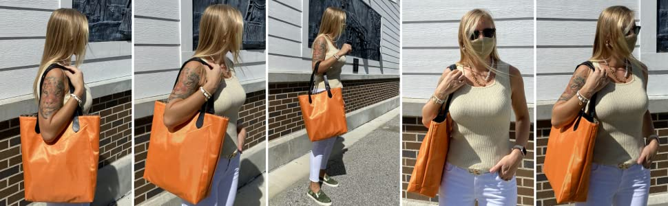 dasti orange bag, dasti reversible bag, tote for women, reversible tote,