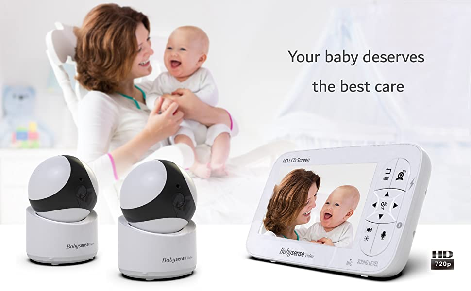 Babysense video Monitor V65 HD 720P with two HD cameras
