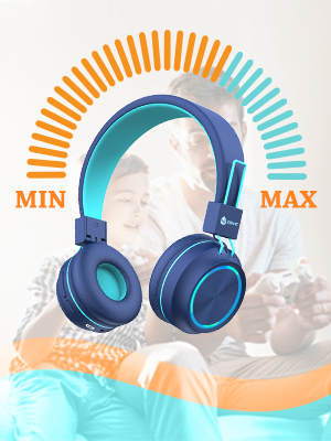 kids headphones with microphone kids bluetooth headphones headphones for kids wireless boys school - IClever BTH03 Kids Bluetooth Headphones, Colorful LED Lights Kids Headphones With MIC, 25H Playtime, Stereo Sound, Bluetooth 5.0, Foldable, Childrens Headphones On Ear For Study Tablet Airplane, Blue