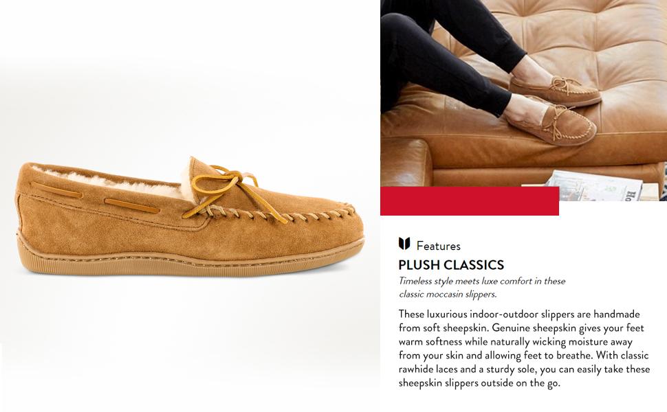 moccasin on outdoor piled sheepskin shoe size slip slipon slipper sole suede teen up warm wide width