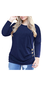 VISLILY Women's Plus Size Buttons Decor Tunic Tops Causal Long Sleeve Blouse Shirts