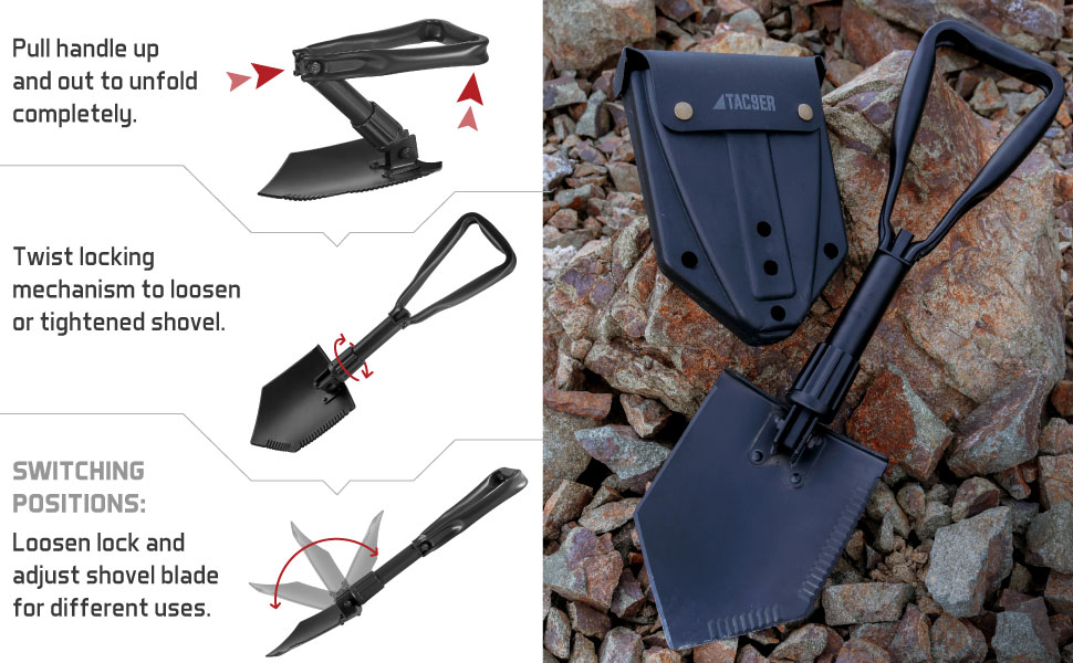 Small Tactical Military Folding Shovel with Serrated Steel Blade and Carrying Case