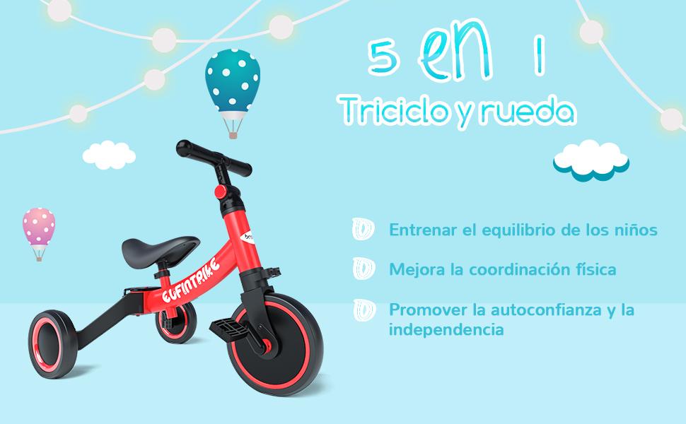 besrey Triciclos para Niños, 5 en 1 Un Bici polivalente, Triciclo & Bicicleta & Carro de Equilibrio & Caminante, 2.8kg Ligero y portátil, Adecuado para niños de 1.5-4 años Princesa roja: Amazon.es: