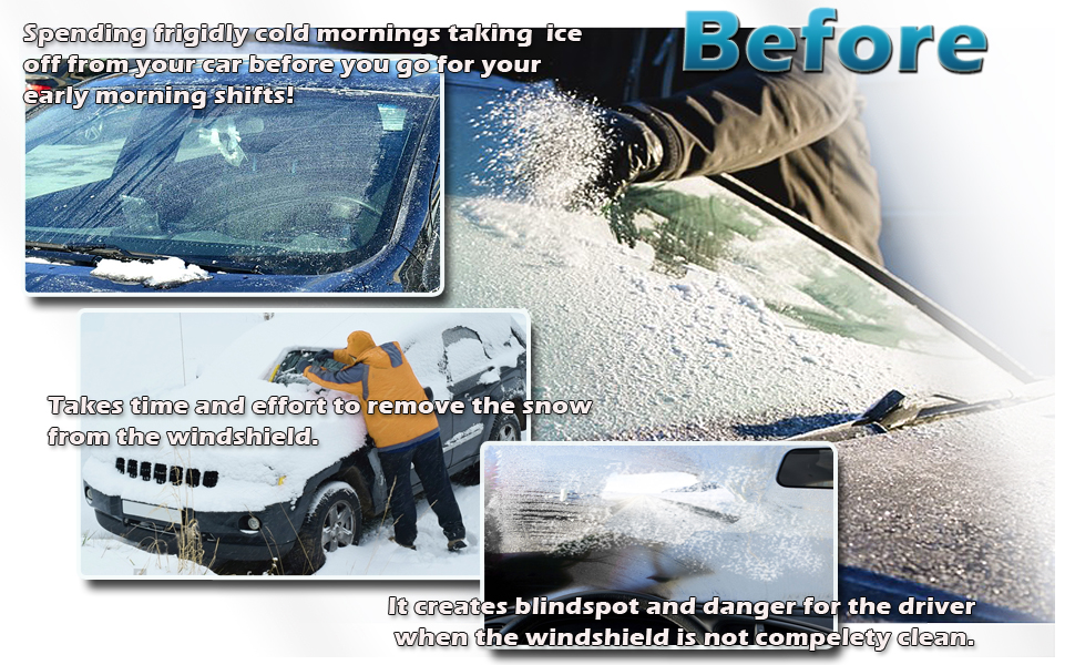 Blue Snow Sleet Ice Cover Premium Quality Windshield Car Protector in a Self-Convertible Storage Pouch Zone Tech Car Windshield Cover Protector