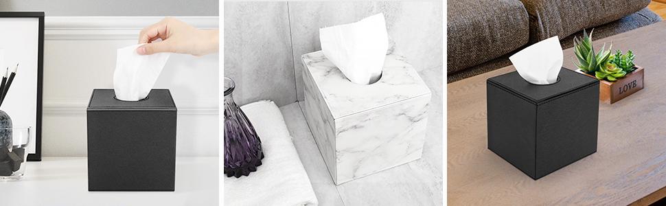 Marmo Bianco Porta Fazzoletti in PU Pelle Luxspire Scatola Rettangolare per Fazzoletti Custodia Magnetica per Fazzoletti Organizer per Salviette per Camera Bagno Astuccio per Carta Igienica