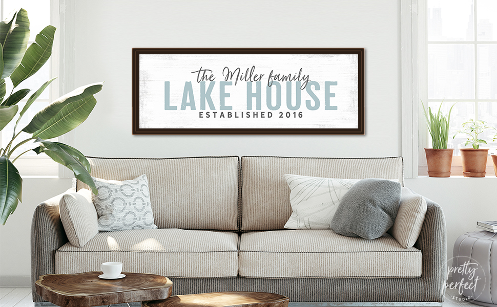 Custom lake house sign to personalize canvas wall art for the family lake life home