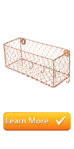copper metal mesh chicken wire country wall mounted entryway shelf mail storage key hooks organizer