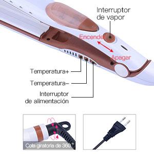 Steam - Plancha de Pelo Profesional,2 en 1 Plancha de Vapor y Rizador Pelo-Para el Cabello Sedoso y Brillante,Cuidado del Cabello: Amazon.es: Salud y cuidado personal