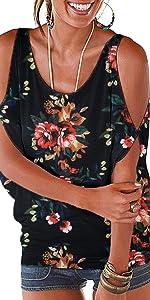 floral cold shoulder tops for women