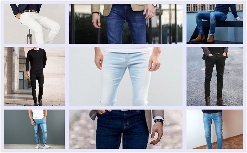 FREDD MARSHALL Mens Skinny Slim Fit Stretch Straight Leg Fashion Jeans Pants