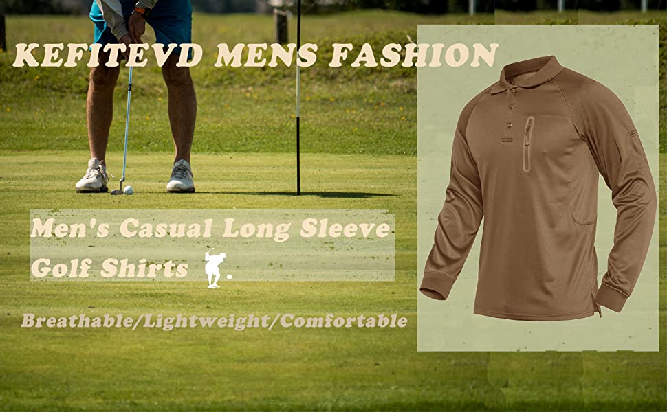 KEFITEVD Men's Long Sleeve Golf Shirts Button Down Work Polo Shirts Outdoor