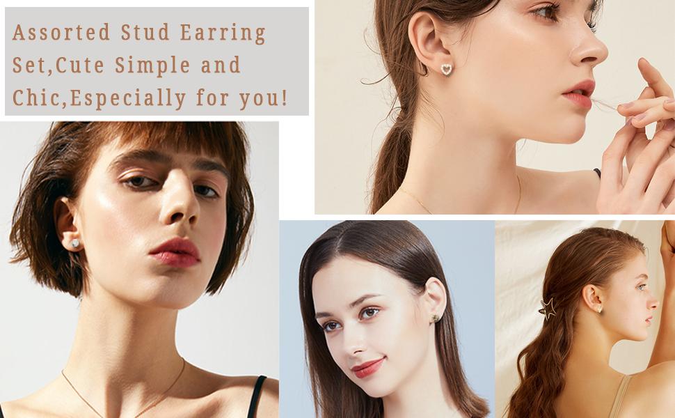 Cute Simple Faux Pearl Hoop Earrings Bar Moon Star CZ Stud Earring Jewelry