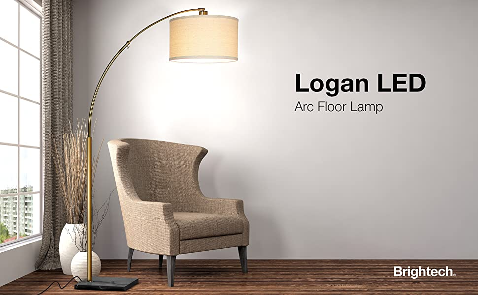 Brightech Logan Led Arc Floor Lamp With Marble Base