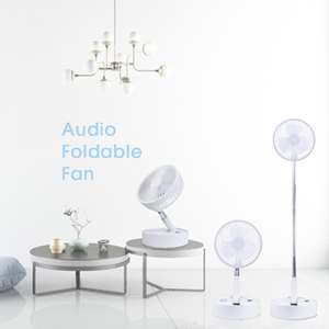 folding floor fan with speaker