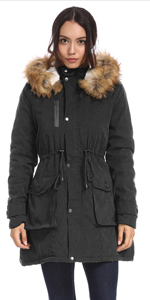 Womens Thickened Parka Coat with Removable Fur Hood Warm Coats