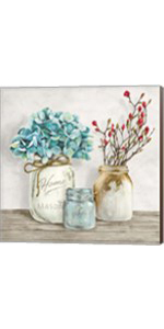 Floral Composition with Mason Jars I by Jenny Thomlinson
