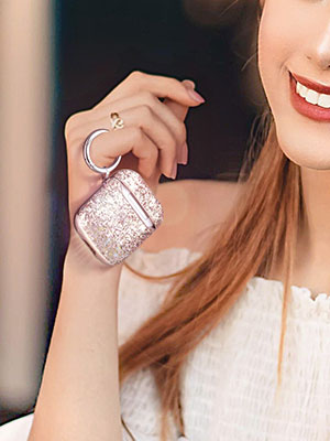 Airpod case luxury glitter sparkly blingbling leather case cover skin with keychain 2019 cute