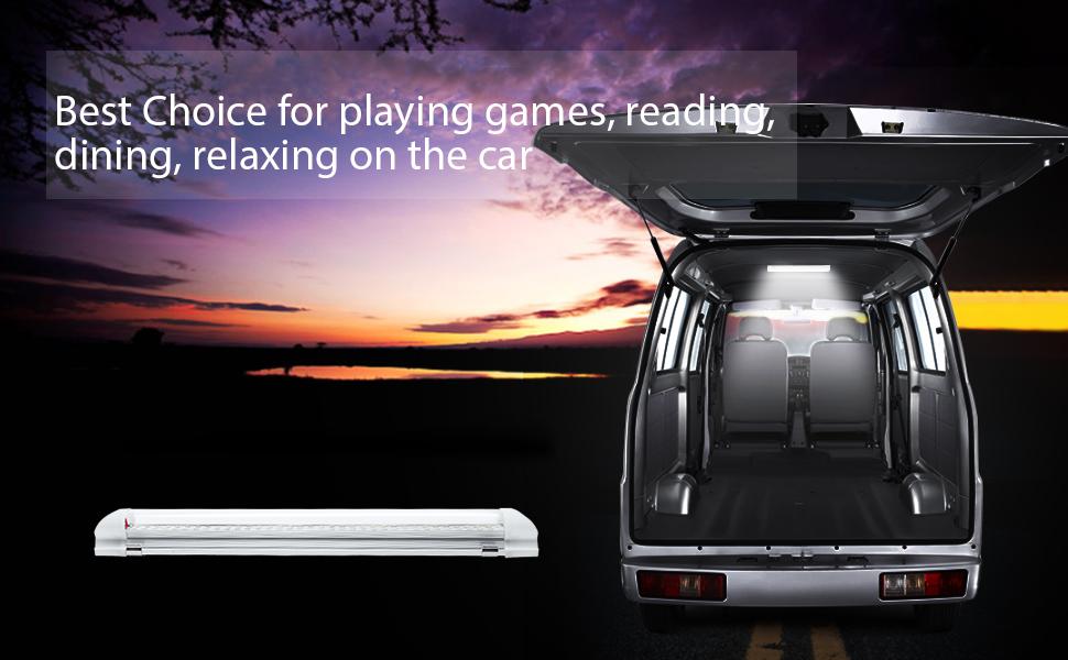 MICTUNING 12-80V 3.5W 72 LED Car Interior Led Light Bar Lamp Van Caravan...