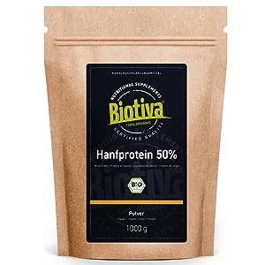 Proteína de cáñamo en polvo orgánico, 1 kg, proteína de cáñamo, 1000 g, producto de calidad de cultivo austriaco, sin gluten, soja ni lactosa, ...