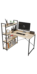 46'' Computer Desk with 4 Tier Storage Shelves