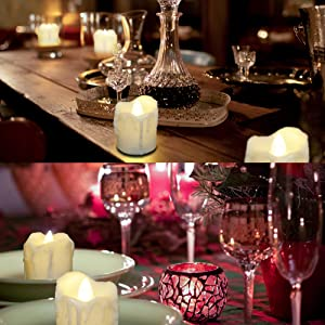 PChero Battery Operated LED Flameless Flickering Timer Tea Light Candle for Christmas Decorations
