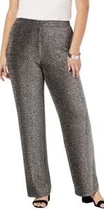 Sparkle Knit Pant Metallic Pull-On Stretch Pants
