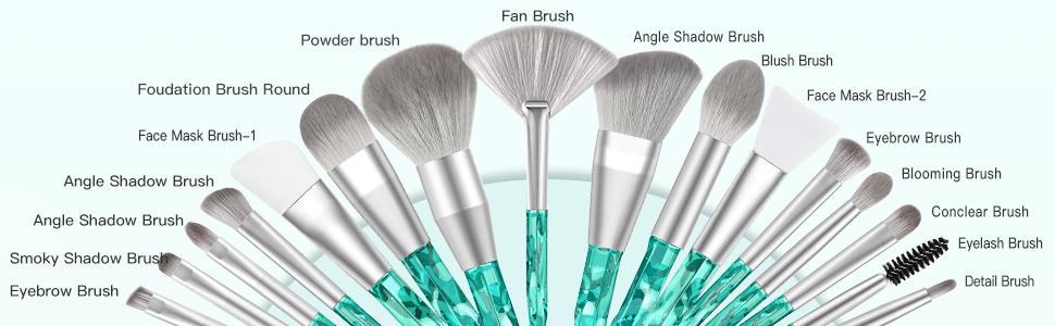 16 crystal makeup brushes set
