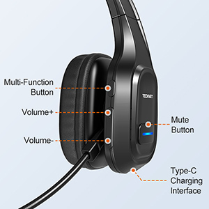 Wireless Cell Phone Headset Noise Cancelling Mic