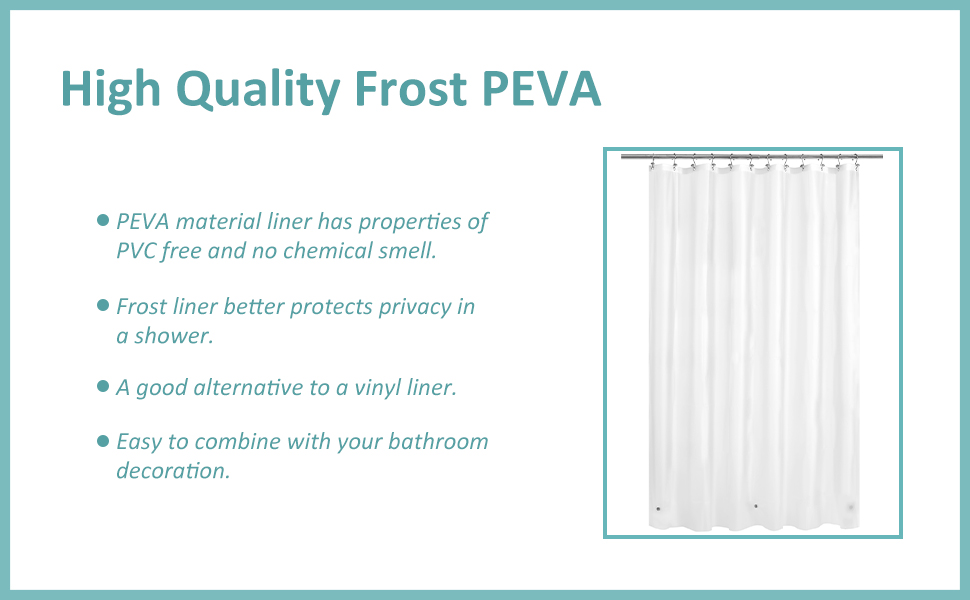 4 gauge peva plastic shower curtain liner frost
