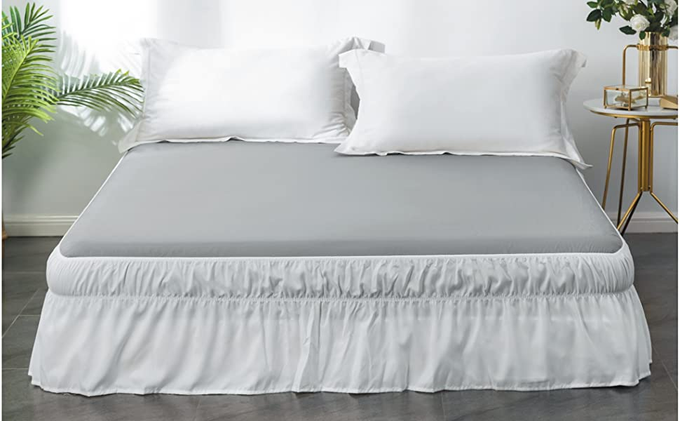 Ayasw Bed Skirt 15 16 Inch Drop Dust Ruffle Three Fabric Sides Wrap Around With Elastic No Top Easy On Queen King White Kitchen Dining