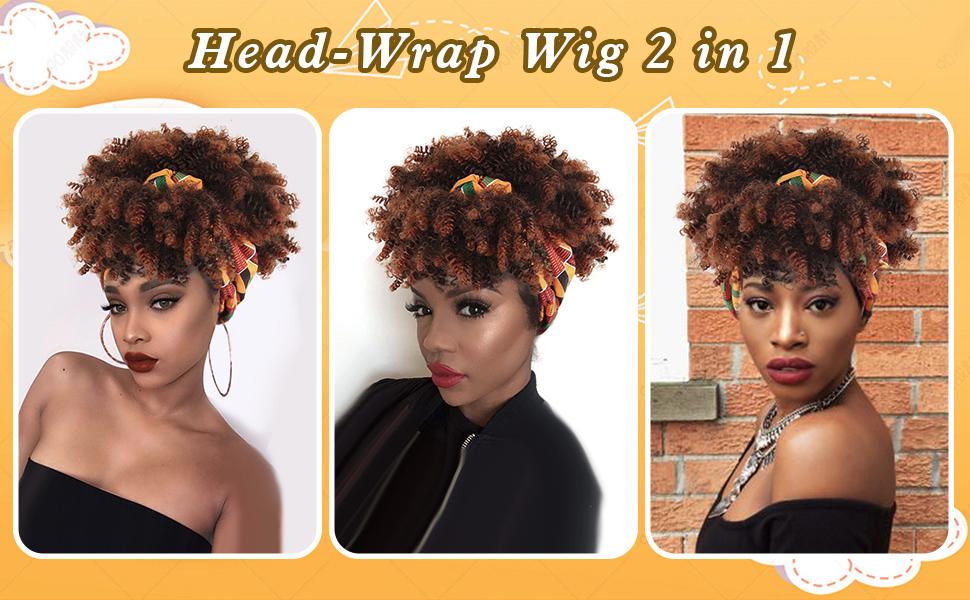 Head Wrap Wigs 2 in 1, african head wraps for women, headband wigs for women