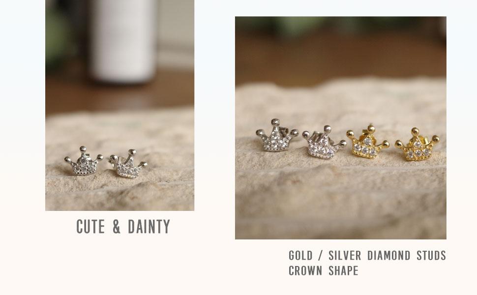 crown stud earrings for teen girls