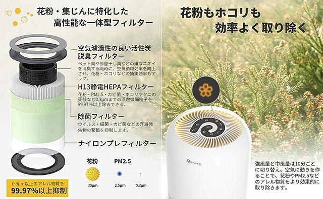 空気清浄機 Dreamegg 小型 空気清浄 18畳 微細粒子99.97%以上除去 紫外線 除菌 花粉 脱臭 集じん 4段階風量調節 静音 タイマー付き 暖色ナイトライト チャイルドロック機能 睡眠モード カビ取り 卓上 省エネ くうきせいじょうき コンパクト  TR-8080B