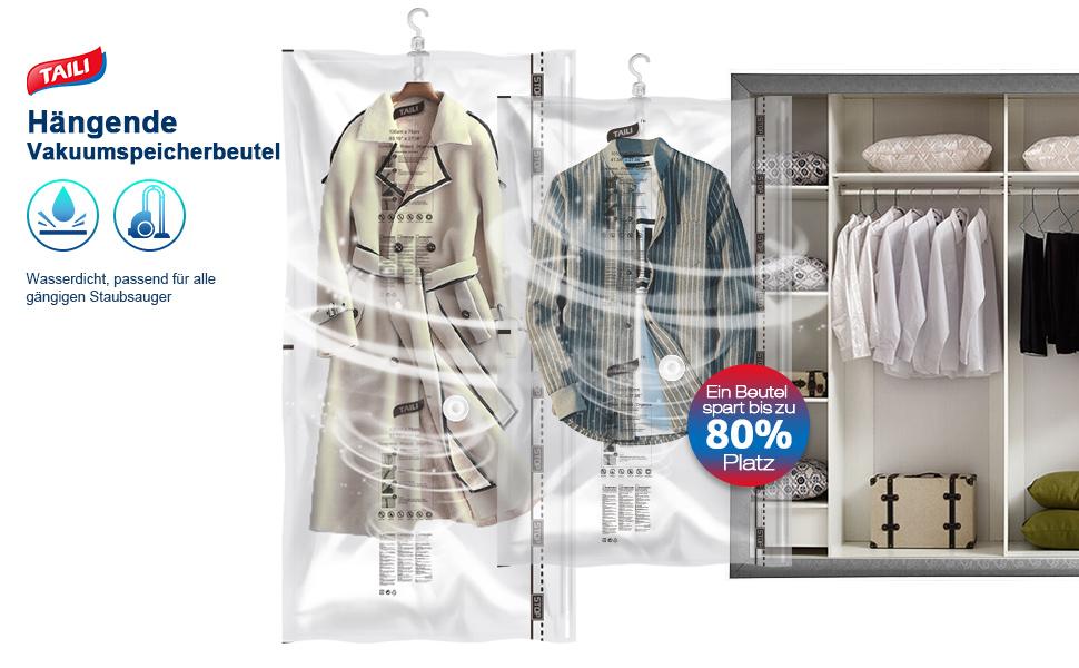 Aufbewahren von Jacken,Anz/üge und Kleid Vakuum Platzsparer f/ür Zuhause/&Reise.4 TLG Set ,Transparent TAILI H/ängend Vakuumbeutel Mit Kleiderhaken 105x70cm+ 135x70cm Maximieren Sie Platz im Schrank