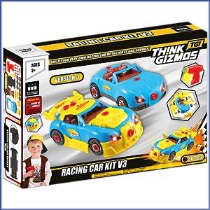 Think Gizmos Coche de carreras tipo juguete desmontable - Juguete de construcción con kit de herra-mientas - Juguetes niños 2 años y más - Juegos educativos montaje coche de juguete - Nueva