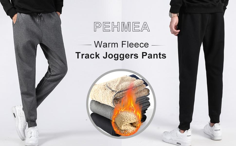 PEHMEA Men's Winter Warm Fleece Joggers Pants Sherpa Lined Sweatpants Athletic Workout Pant
