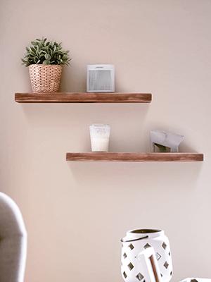 floating wood shelves real sturdy shelf durable rustic farmhouse easy DIY installation NO MDF