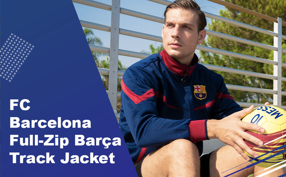 X-Large, Blue Icon Sports FC Barcelona Full-Zip Bar/ça Track Jacket
