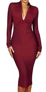Whoinshop Women's Backless Halter V Plunge Celebrity Night Club Party Bandage Bodycon Midi Dress